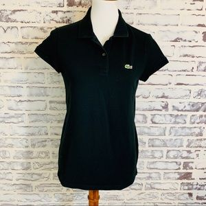Lacoste Black Short Sleeve Polo Shirt Size 42